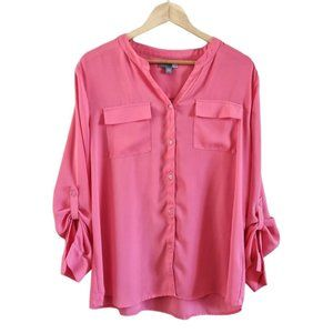 Sears Long Sleeve Button Up Blouse Pink XL